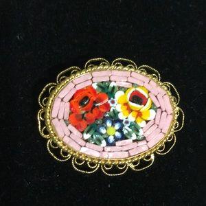 Vintage Micro mosaic pink brick cameo pin
